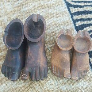 Mid-century modern foot ashtrays